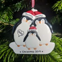 Penguin Family of 3 - Personalised Christmas Tree Decoration - Personal Xmas Gift